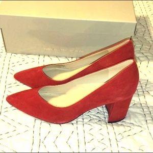 NWT Marc Fisher red suede block heels sz 6.5